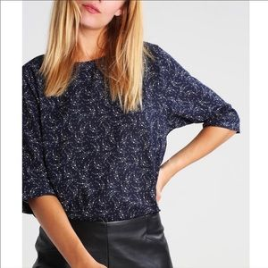 Scotch & Soda Anthropologie Navy Floral Top Small